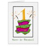 1st Birthday Cake Greeting Card