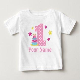 1st Birthday cake Pink Personalized T-shirt