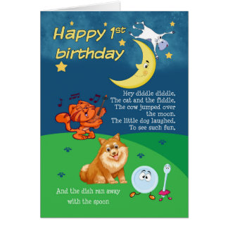 1st Birthday Card, 1st Birthday Hey Diddle Diddle Card