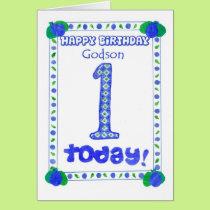 1st Birthday Card for a Boy Godson
