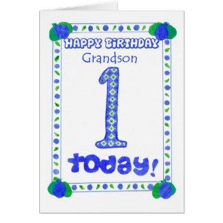 1st Birthday Card for a Boy Grandson