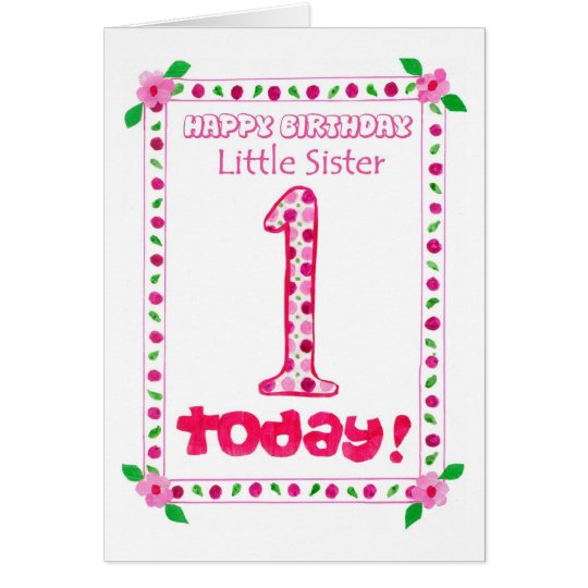 1st Birthday Card for a Little Sister | Zazzle