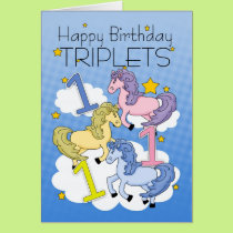1st Birthday Card For Triplets With Ponies