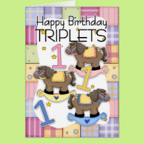 1st Birthday Card For Triplets With Rocking Horses