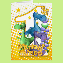 1st Birthday Card For Triplets With Three Cute Dra
