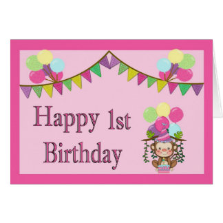 1st Birthday Card - Monkey, Pennants & Balloons