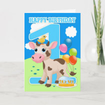 1st Birthday Card With Little Cow Cake And Balloon