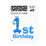 1st birthday cartoon, in blue and green. stamp
