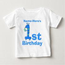 1st birthday cartoon, in blue. Custom Name. Baby T-Shirt