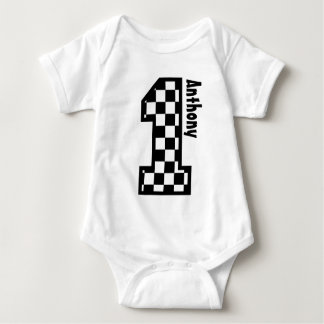 1st Birthday Checkered Race Fan One Year Old N011 Baby Bodysuit