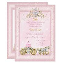 1st birthday Cinderella Blush Pink Carriage Invitation