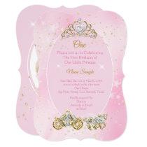 1st birthday Cinderella Pink Carriage Photo Invitation