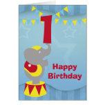 1st Birthday Circus Elephant Card
