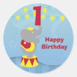 1st Birthday Circus Elephant Round Stickers