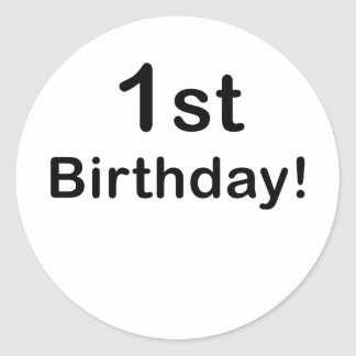 1st Birthday Classic Round Sticker