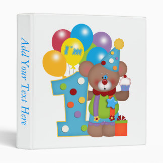 1st Birthday Clown Bear Binder
