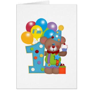 1st Birthday Clown Bear Card