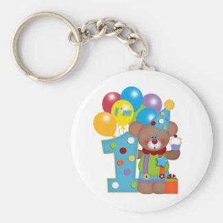 1st Birthday Clown Bear Keychain