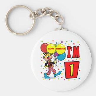 1st Birthday Clown Birthday Basic Round Button Keychain