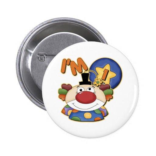 1st Birthday Clown Pinback Button