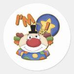 1st Birthday Clown Round Stickers