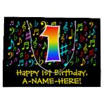 [ Thumbnail: 1st Birthday - Colorful Music Symbols, Rainbow 1 Gift Bag ]