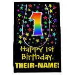 [ Thumbnail: 1st Birthday: Colorful Stars Pattern & Rainbow 1 Gift Bag ]