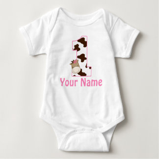 1st Birthday Cow Print Girls Personalized Shirt
