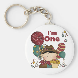 1st Birthday Cowboy Tshirts and Gifts Basic Round Button Keychain