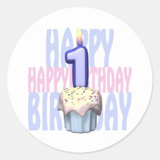 1st Birthday Cupcake Birthday Round Sticker