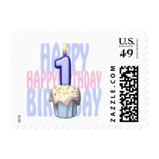 1st Birthday Cupcake Birthday Stamp
