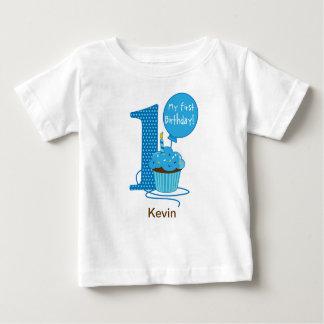 1st Birthday Cupcake Blue Shirt