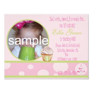 1st Birthday Cupcake Invitation - pink&green