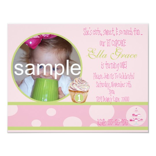 1st birthday cupcake invitation pink green zazzle com