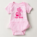 1st Birthday Cupcake Pink Personalized Baby Bodysuit