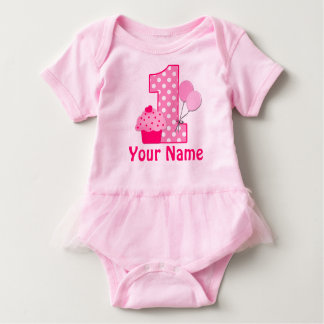 1st Birthday Cupcake Pink Personalized Baby Bodysuit