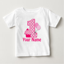1st Birthday Cupcake Pink Personalized T-shirt