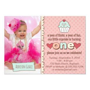 cupcake 1st birthday invitations zazzle