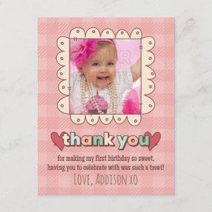 1st birthday 425 x55 invitations zazzle 1st birthday cupcakes thank you card stopboris Choice Image