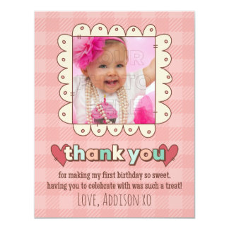 1st Birthday Cupcakes Thank You Card