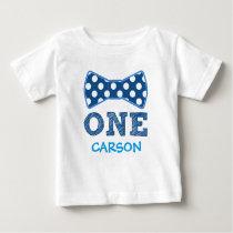 1st Birthday - Custom Name -Bow Tie Baby T-Shirt