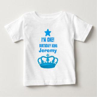 1st Birthday Custom Name Crown and Stars V20G Baby T-Shirt