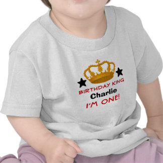 1st Birthday Custom Name Crown and Stars W03B Tshirt