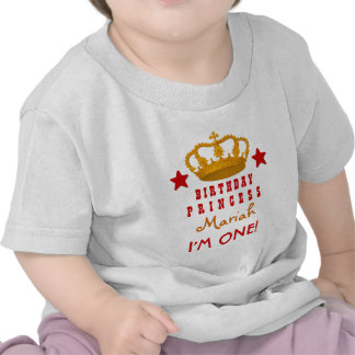 1st Birthday Custom Name Crown and Stars W03E Shirts