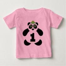 1st Birthday Cute Panda Baby T-Shirt