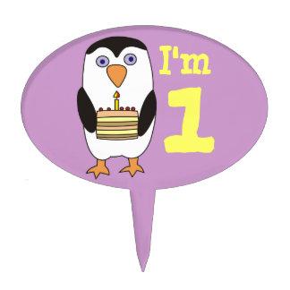 1st Birthday Cute Penguin Cake Topper