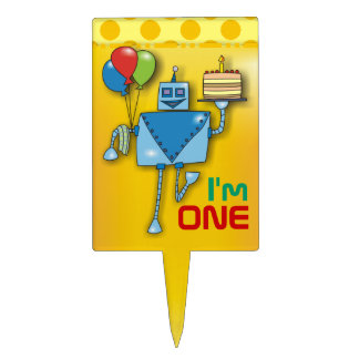 1st Birthday Cute Robot Yellow Cake Toppers