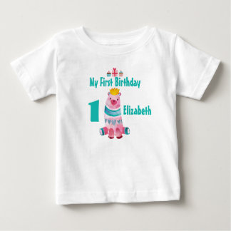 1st Birthday Cute Watercolor Bear Wearing a Crown Baby T-Shirt