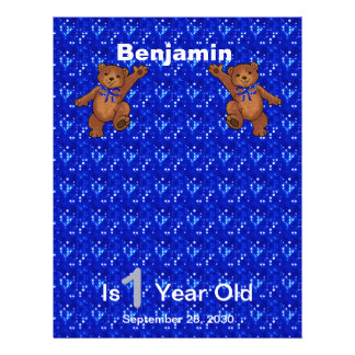 "1st Birthday Dancing Bear Scrapbook Paper 1 8.5"" X 11"" Flyer"