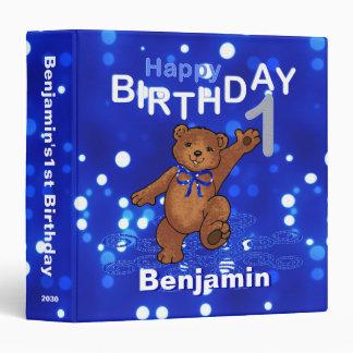 1st Birthday Dancing Teddy Bear Memories 1.5 Inch 3 Ring Binder